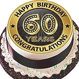 Cannellio Cakes vorgeschnittenen Essbarer Zuckerguss großen Kuchen Topper–19,1cm rund schwarz & Gold Age 60Happy 60. Geburtstag