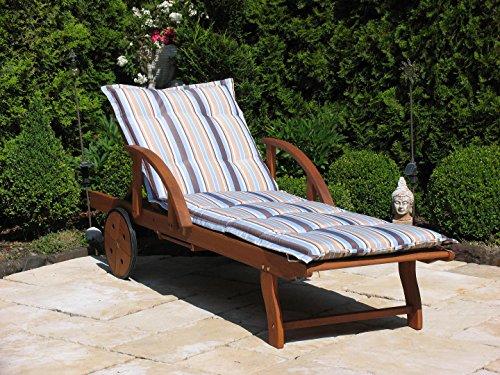 Gartenliege mit Kissen Marine Holz Liege Sonnenliege Relaxliege Rio Grande