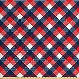 ABAKUHAUS Vistoso Tela por Metro, Patrón De Pata De Gallo, Decorativa para Tapicería y Textiles del Hogar, 2M (160x200cm), Azul Oscuro Blanco Rojo