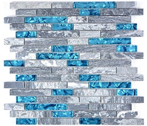 uzent grau Verbund Glasmosaik Crystal Stein grau blau für BODEN WAND BAD WC DUSCHE KÜCHE FLIESENSPIEGEL THEKENVERKLEIDUNG BADEWANNENVERKLEIDUNG Mosaikmatte Mosaikplatte ()