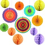 Party decorazioni colorate Fiesta Paper fans carta velina a nido d' ape palle decorazione da appendere per compleanno nozze Carnevale Baby Shower Home party supplies Favors (12 pz)