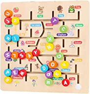 Toyvian Kids Wooden Maze Puzzle Beads Board Game Play Set for Boys Girls Learning Education Toy for Toddlers Preschool Child