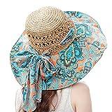 TININNA plegable Floppy de flores de Bohemia gran ala ancha hueco playa sombrero de paja sol sombrero gorra visera para mujer señoras Khaki1