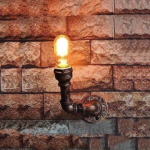 LOFT Retro Kunst Handgefertigte Eisen Wasser Rohr Wand Lampe American Village Einfache altmodische DIY Metall Wandleuchte Barn Restaurant Bar Edison Beleuchtung E27 (4 Styles) ( design : D )
