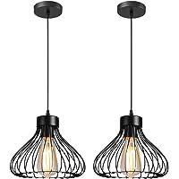 iDEGU Lot de 2 Suspension Luminaire Industrielle Lustre Plafonnier Abat-jour en Métal en Forme de Cage Noir Vintage…