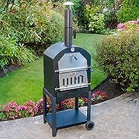 Parkland Portabler Pizzaofen für Draußen, für Holz und Holzkohle, für Garten und Terrasse, Kaminofen, Grill und Brotbackofen