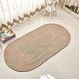 Tapis, corde à tisser salon ovale table basse chambre à coucher protection de l'environnement lavable à la machine 50x120cm (Couleur : Beige, taille : 40 * 60cm)