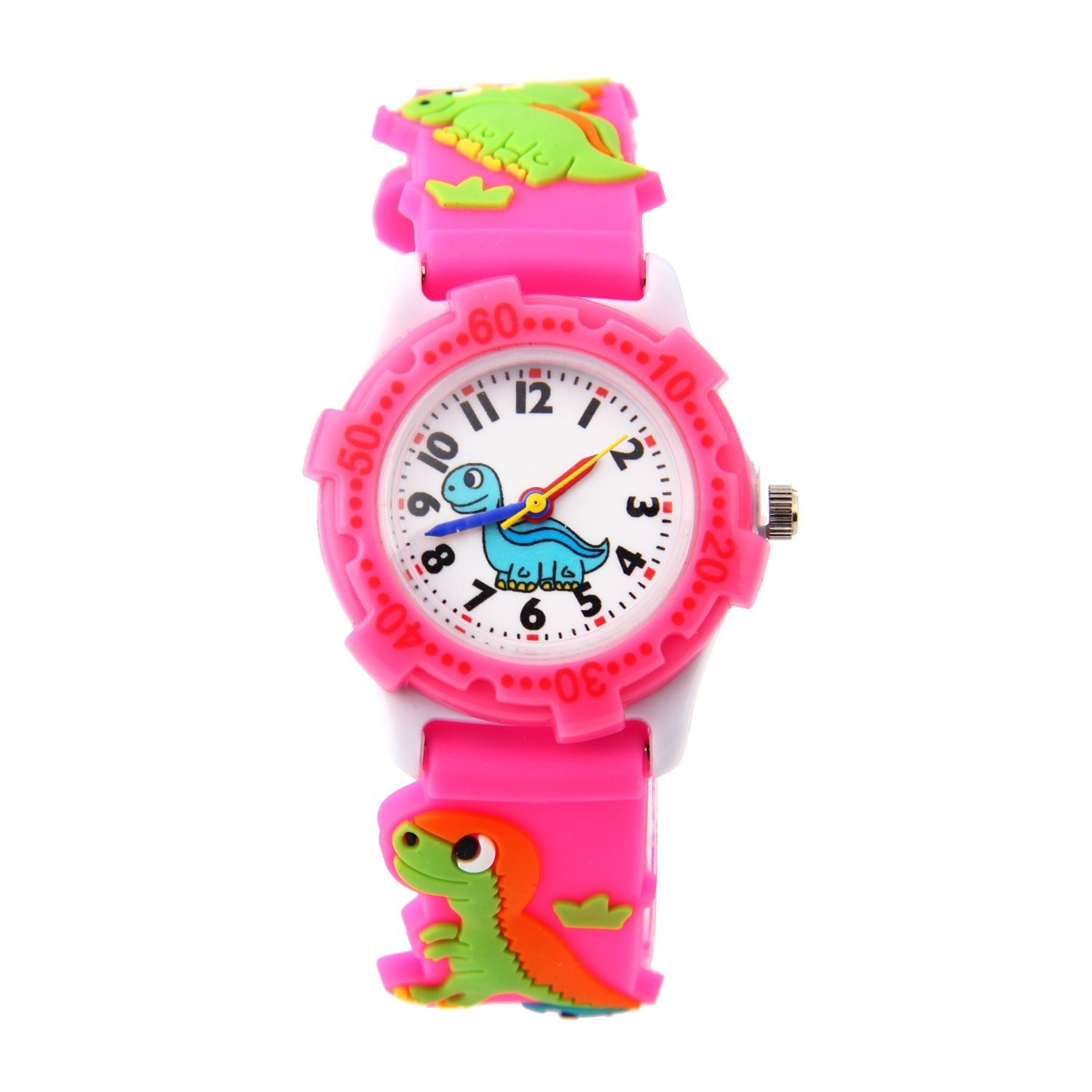 ParaCity Waterproof 3D Cute Cartoon Digital Silicone Wristwatches Time Teacher Gift for Little Girls Boy Kids Children (Dinosaur-Pink)