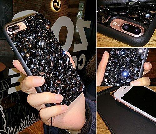 iPhone 7/8 Coque Housse Etui TPU,iPhone 7/8 Case Paillette,Hpory élégant Luxe Ange Motif Cristal Clair Transparent Paillette Bling Glitter Diamant Strass Brillante Housse de Protection Flexible Souple Strass,Noir
