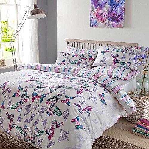 Dreamscene Luxuriöse Aquarell Schmetterling Bettwäsche-Set mit Kissenbezug, Polyester/Baumwolle, mehrfarbig, Single