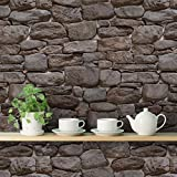 PRINTELLIGENT 'Stone Of Slate' Wall Sticker (Self Adhesive) 3 Tiles / 5.5 SqFt