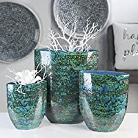 Casablanca Vase Azur grün//blau//bronze Keramik H.31 cm  m.einzigartiger,reaktive