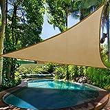 Sun Sonnensegel, Sonnenschutz Garten Balkon und Terrasse wetterbeständig atmungsaktiv Schattenspender Dreieck 3x3 m sand beige robust und stabil