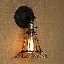 DPG Lighting Vintage Industrial Cage Wall Edison Luz con Interruptor Mango ajustable Lámpara rústica Loft Lámparas de pared Lámparas de pared E27 Metal