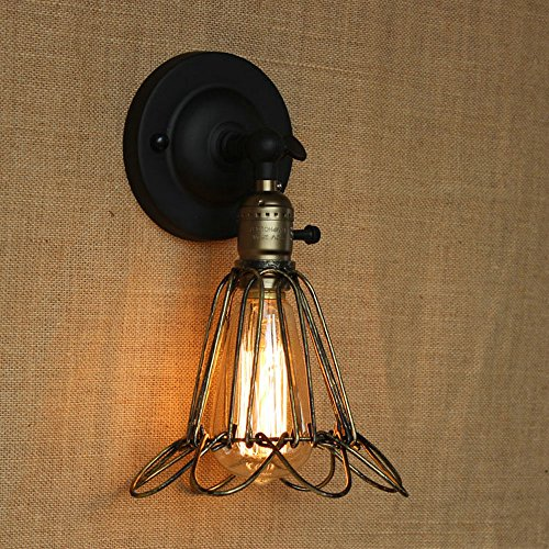 DPG Lighting Vintage Industrial Cage Wall Edison Luz con Interruptor Mango ajustable Lámpara rústica Loft Lámparas de pared Lámparas de pared E27 Metal