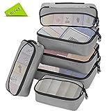 Packing Cubes Packwürfel Set,Kleidertaschen Packtaschen 6-teiliges,ltra-leichte koffer organizer set Ideal für Seesäcke, Handgepäck und Rucksäcke (grau)