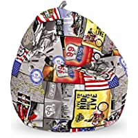 HAPPERS Junior Estampado Puff, Tela, Ruta 66, 70x70x70 cm