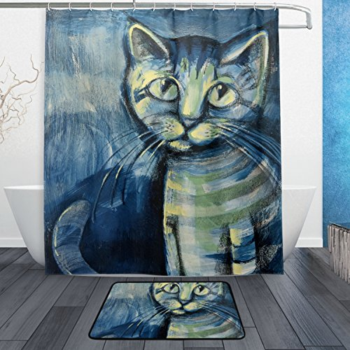 JSTEL Gemälde Kätzchen 3-piece Badezimmer-Set maschinenwaschbar, für den täglichen Gebrauch, 60x 72cm, wasserdicht, Duschvorhang, 12Haken mit rutschfester Badteppich, Teppich, Set mit 3Stück (Kätzchen Volant)