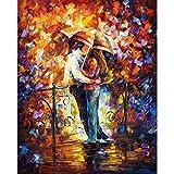 Hohe Qualität handbemalt Abstrakt Palette Dick Messer Ölgemälde Kiss auf der Brücke Wanddekoration Home Wand Wohnzimmer Kunst, canvas, 32x48inch(80x120cm)