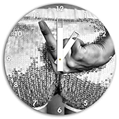 Idea Regalo - Monocrome, frauenpo con dito medio, orologio da parete diametro 30 centimetri con il nero squadrate le mani e il viso, oggetti decorativi, design orologio, composito di alluminio molto bello per soggiorno, studio