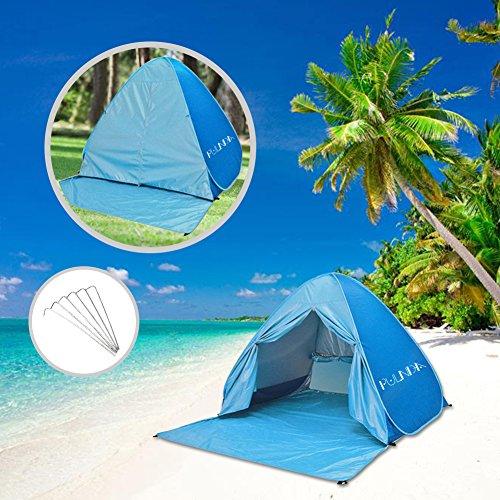 Pop Up Tenda, PULNDA Automatico Pop Up Tenda da Spiaggia wurf zelte Shelter con protezione UV UPF 50 + Protezione Solare per Tenda Spiaggia Esterni Garden Party Camp Picnic Tenta Istantanea -Blu