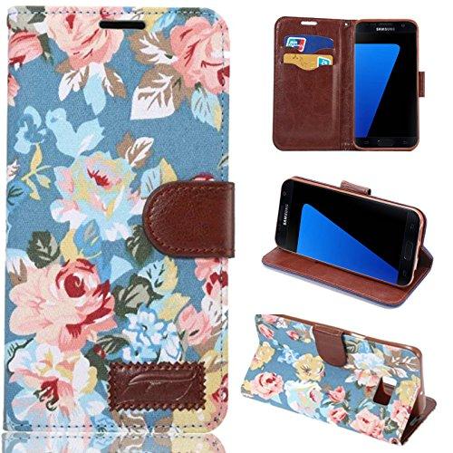 S7Fall, Galaxy S7Wallet Fall, dteck (TM) Deluxe Book Style PU Leder Flip Ständer Magnetverschluss [Blume Elegant Kreditkarte Slots] Ständer Cover für Samsung Galaxy S7(s7-floral blau)