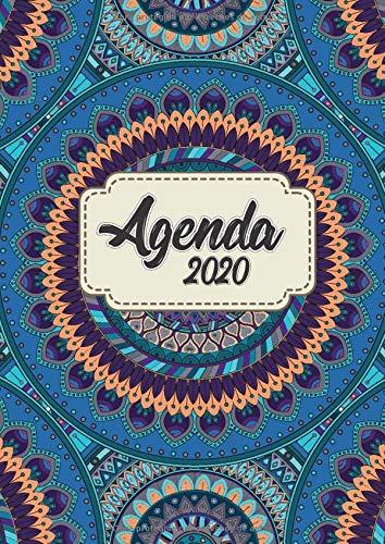 Agenda 2020: Tema Mandalas Agenda Mensual y Semanal + Organizador Diario I Planificador Semana Vista A4 Color azul morado