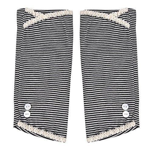 Kenmont Summer Strip Sunblock Uv Protection Lace Cotton Fingerless Gloves