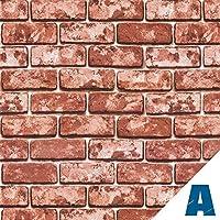 Artesive ST-01 Ladrillos Rojos 50 cm x 5mt. - Película adhesiva Vinilo efecto Piedra para la decoración de la casa, muebles, puerta y todas las superficies lisas
