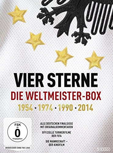 fussball dvd Vier Sterne - Die Weltmeister-Box - 1954 1974 1990 2014 / Alle deutschen Finalsiege mit Originalkommentaren von ARD und ZDF + Die offiziellen Turnierfilme der FIFA + Die Mannschaft (5 DVDs)