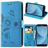 Funda Samsung J5 2017, kazineer Galaxy J5 2017 Funda Cuero Flor Patrón Cartera Carcasa para Samsung Galaxy J5 2017 Caso - Azul turquesa
