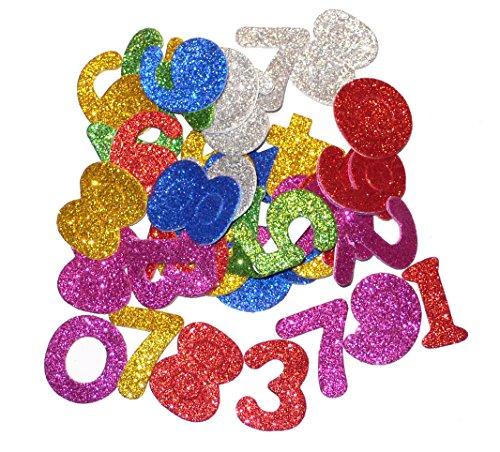 Moosgummi Glitzer - Zahlen 0-9 - selbstklebend - verschiedene Grössen u. Farben - Höhe ca.3,5cm - Dicke ca.2mm - 50 Teile - (1x1Set)