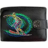 Pacific Surfer on Surfboard and Wave Klassek Real Leather Wallet Surf Accessory gift present with Metal Box