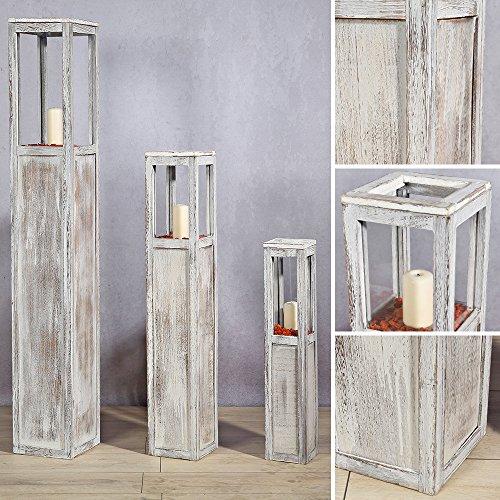 Melko 3er Set Windlicht Windlichtsäule Laterne aus Holz, Landhausstil, Antik-Weiß gewischt