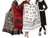 #4: Women'S Cotton Embroidery & Mirror Work Dupatta Multi Color Stoles & Dupattas pack of 3