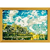 ArtzFolio Cathedral of Palma De Mallorca, Spain Canvas Painting Golden Wood Frame 17 x 12inch