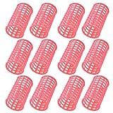 12 Piezas Rosa Plástico DIY Peluquería Estilización Rulos rulos Clips