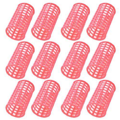 sourcingmap® 12 Stk. Rosa Kunststoff Frisurenhilfe Lockenwickler Kosmetik für Frauen de