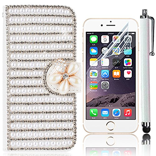 iPhone 7 Handytasche,iPhone 7 Hülle,Sunroyal Elegant Luxus Noble Weiß Rose Rot Schmetterling Bling Diamant Glitzer Rhinestone Muster Entwurf PU Leder Schutz Handyhülle Strass Klapp Flip Bookstyle Akku Pattern 22