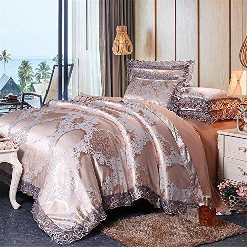 Bettwäsche-Set Collection 4-teilig luxuriöse Jacquard Floral Tröster Ultra Soft Silky Satin Set Bett-in-a-Bag Set
