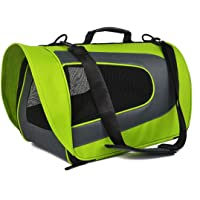 THE DDS STORE Airline Approved Waterproof and Foldable Soft Sided Pet Carrier, Travel Bag for Cats, Small Dogs, and Puppies for Plane and Car (Green, 46 x 29 x 25.4 cm)