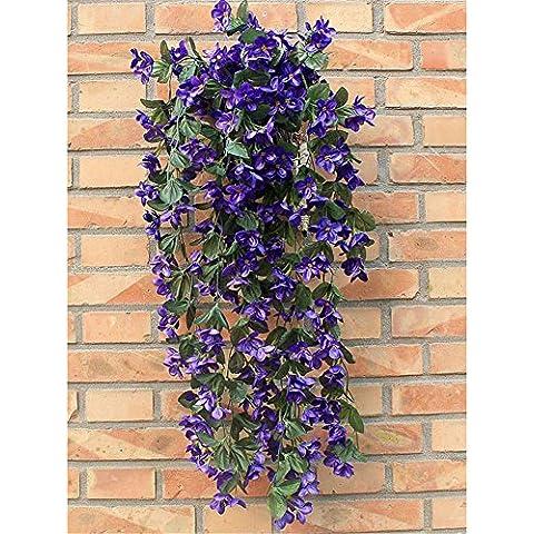 Pusheng 1ramo de planta artificial violeta Bracketplant colgantes guirnalda vid flor decoración