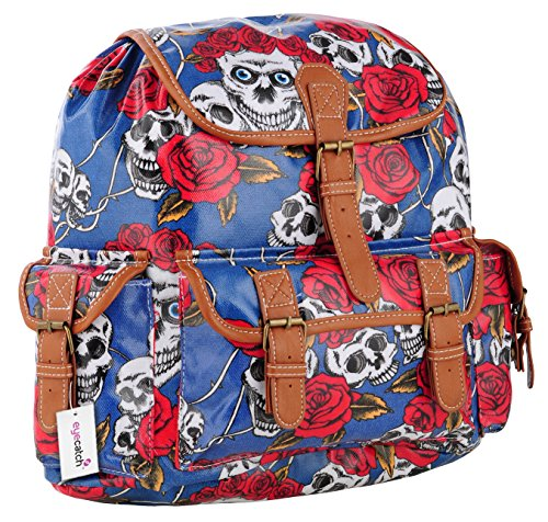 EyeCatch - Damen Rucksack Schultasche aus Oil Cloth Canvas mit Schadel Rosen Blau