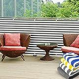 Balkon Sichtschutz UV-Schutz | 90x500cm | wetterbeständiges und pflegeleichtes HDPE-Spezialgewebe | grau-weiß gestreift