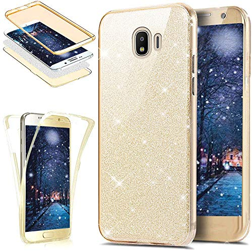 EINFFHO Galaxy J2 Pro 2018 Hülle, 360 Full-Body Vorne+Hinten Rundum Schutz Tasche Etui Kristall Klar Glänzend Glitzer Durchsichtig Silikon Hülle Schutzhülle für Samsung Galaxy J2 Pro 2018 (Gold)