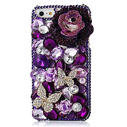 Spritech (TM) 3D handgemachte Mode Frauen Ipod Touch 6 Fall Luxus Lila Diamant-Entwurf Bling Big Atropurpureus Rhinestone-Rosen-Dekor-freie harte Caver iPod Touch - Ipod-musik-fall