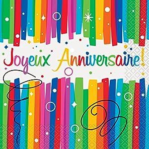 Unique Party-56902-Paquete de 16servilletas de papel cumpleaños feliz lazos multicolor