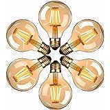 Ampoule Edison LED, massway Ampoule Edison Vintage G80 E27 4W Rétro Filament Ampoule décorative 2700K Blanc Chaud Antique Lam
