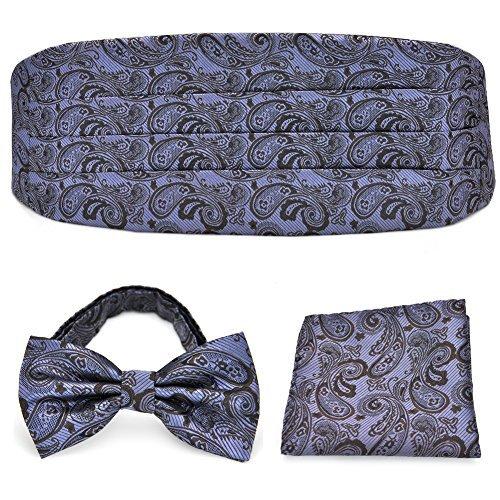 PenSee Herren Paisley, exquisite Fliege aus Seide & handgerollter Saum & Kummerbund-Set Gr. onesize, Lilac & Brown Paisley - Paisley Silk Bow Tie
