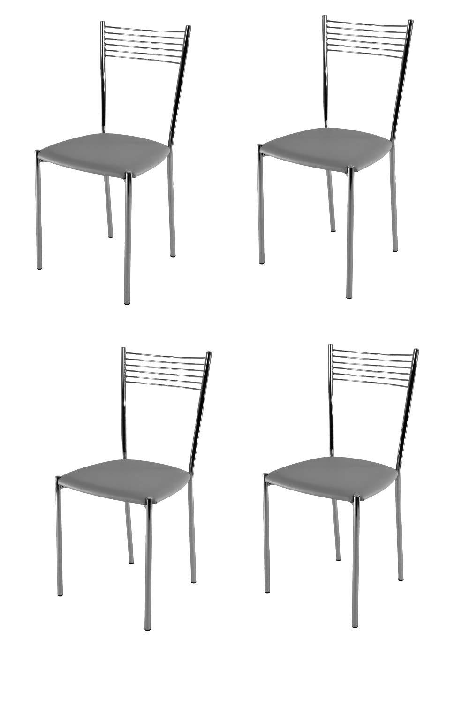 Tommychairs - Set 4 sedie moderne e di design ELEGANCE per cucina bar  salotti e sala da pranzo, con robusta struttura in acciaio cromato e seduta  ...